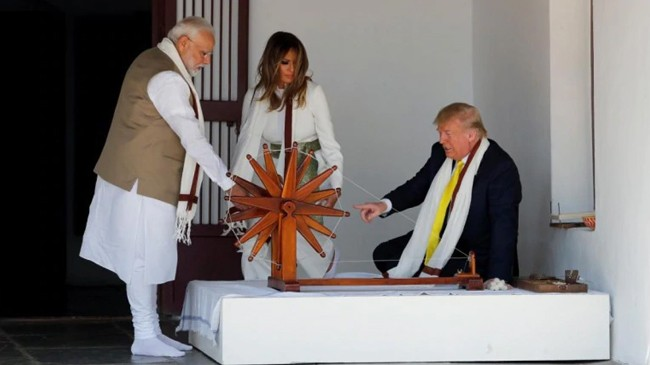 trump did not name gandhi at gandhi ashram02